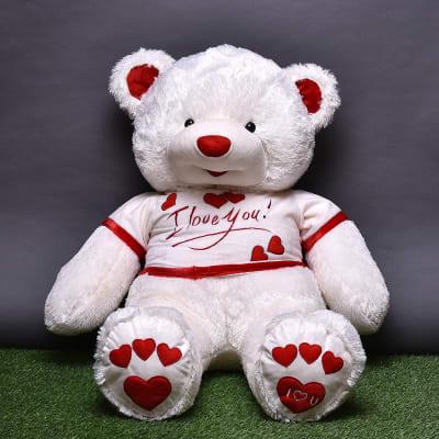Red & White Fur Big Teddy Bear