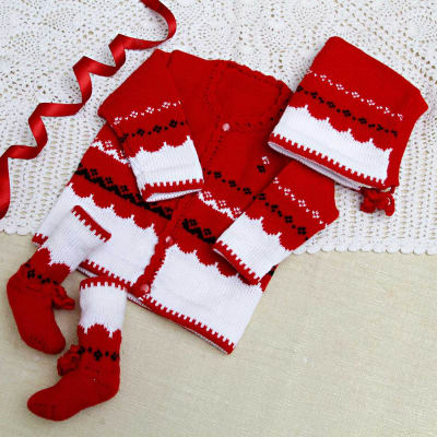 f1a8050847b Red   White Woolen Baby Sweater With Socks   Cap