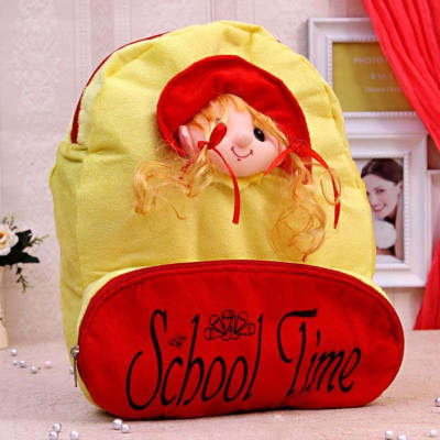 Red & Yellow Doll Faced School Bag for Kids