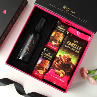 Refreshing Face Mist and Chocolates Gift Box