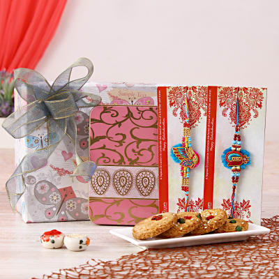 Resham embroidered rakhi set with sugar free cherry cookies in gift resham embroidered rakhi set with sugar free cherry cookies in gift box negle Gallery