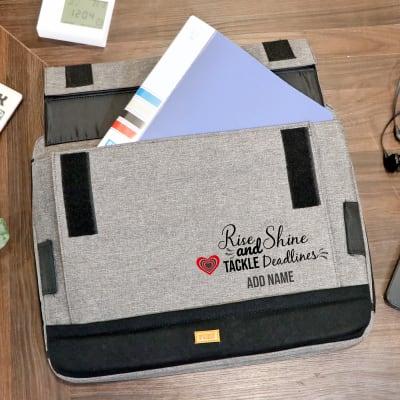 Rise & Shine Personalized Multi-purpose Grey Lap Pillow Laptop Bag