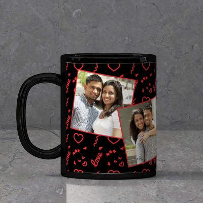 Romantic Collage Personalized Black Mug