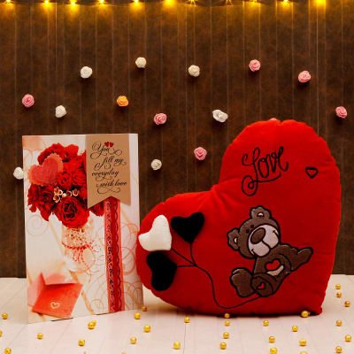 Romantic greeting card with heart shaped soft toy giftsend toys romantic greeting card with heart shaped soft toy m4hsunfo