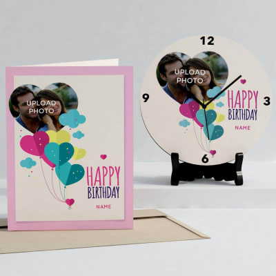 Romantic Personalized Birthday Clock & Card combo