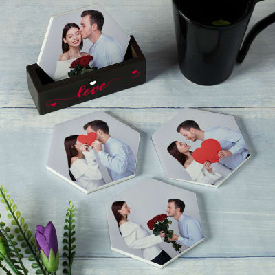 Romantic Personalized Coasters with Stand (Set of 4)