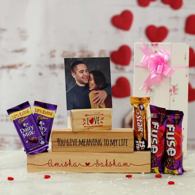 Romantic Personalized Photo Stand with Cadbury Chocolates