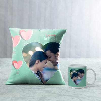 Romantic Personalized Pillow & Mug Hamper