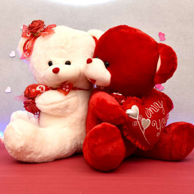 Romantic Teddy Couple Red and Cream Large