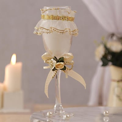 Romantic White Glass Candle
