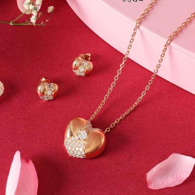 Rose Gold Finish Pendant and Earrings Set