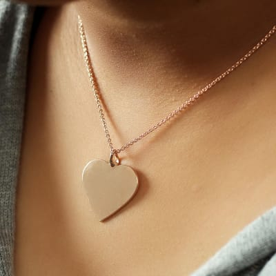 Rose Gold Toned Heart Pendant Necklace