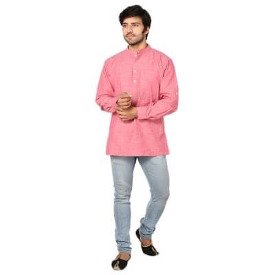 Rose Pink Cotton Short Kurta For Men