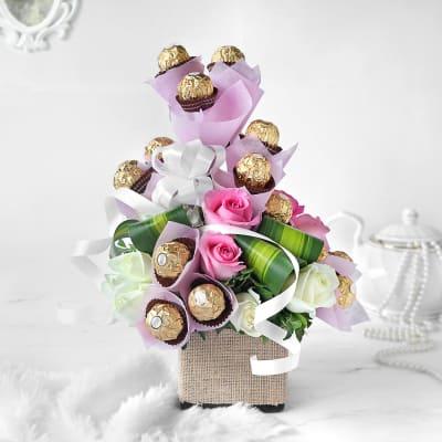 Roses & 16 Ferrero Rocher in Vase Arrangement