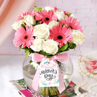 Roses & Gerberas in Round Vase for Mom