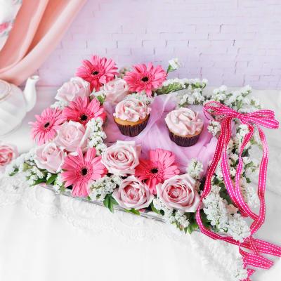 Roses & Gerberas with Cupcakes Hamper