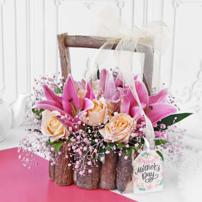 Roses & Lilies in Wooden Basket with Handle for Mother