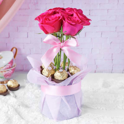 Roses & Premium Chocolate Arrangement