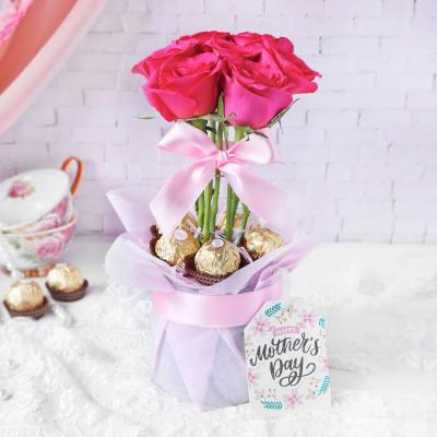 Roses & Premium Chocolates for Mom