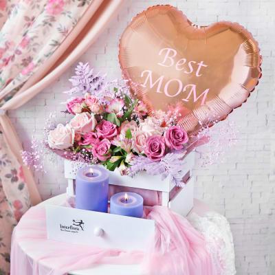Rosy Jubilance Flower Hamper for Mom