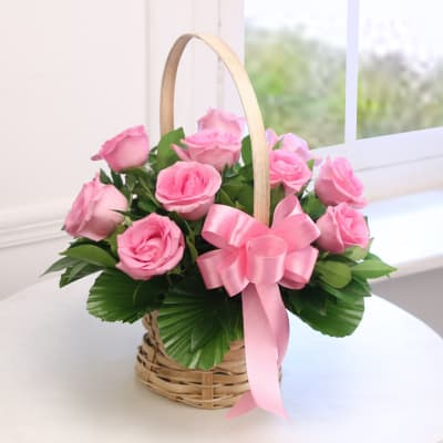 Round Basket Of 10 Pink Roses