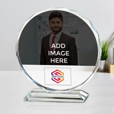 Round Crystal with Stand - Customized with Image and Logo