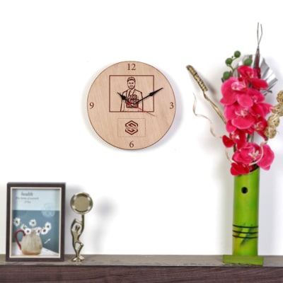 Round Wooden Wall Clock - Customized with Logo & Image