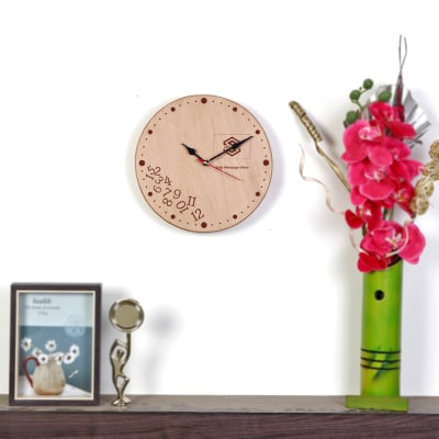 Round Wooden Wall Clock - Customized with Logo & Message