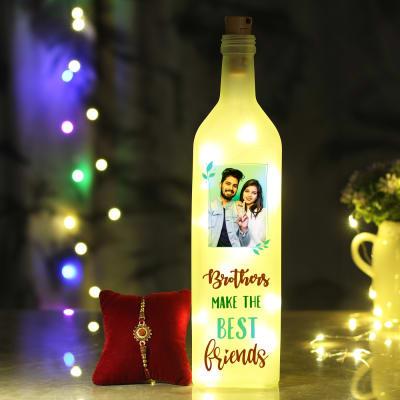Rudraksh Rakhi with Personalized LED Bottle