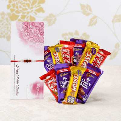Rudraksha Rakhi With 10 Assorted Chocolates