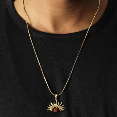 Rudraksha & Sun Engraved Oxidised Gold Finish Men's Pendant
