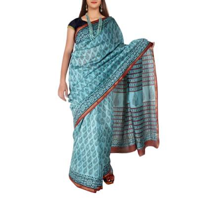 Sanganeri Booti Printed Cotton Chanderi Saree with Zari Border