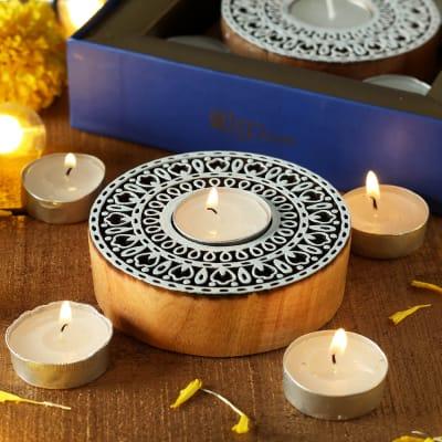 Sanganeri Wooden Block Designer Tea Light Holder with 5 Tea Light Candles