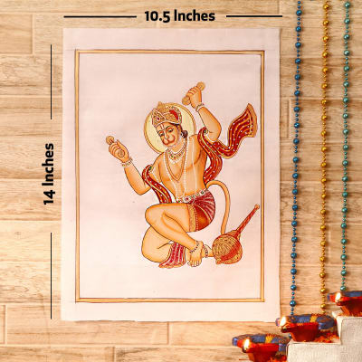 Sankatmochan Gold Idol Silk Painting