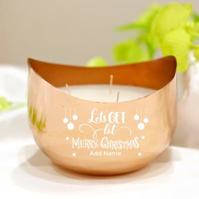 Scented Candle in Personalized Metal Votive for Christmas