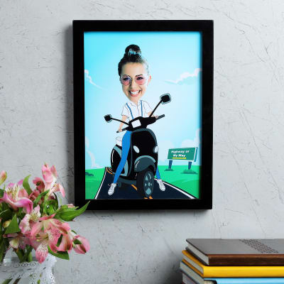 Scooter Girl Personalized Caricature Frame