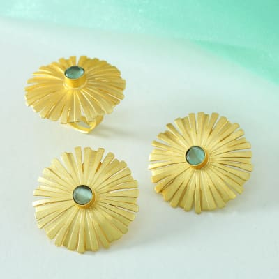 Semi Precious Stone Handmade Earrings and Adjustable Ring