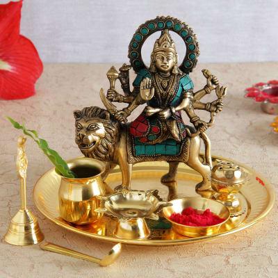 Semi Precious Stone Studded Brass Durga Idol with Gold Plated Pooja Thali