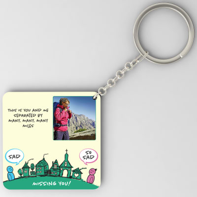 Seperated By Many Many Miles Personalized Miss You Keychain