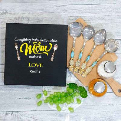 Serving Spoon Set in Personalized Gift Box for Mom (Set of 4)