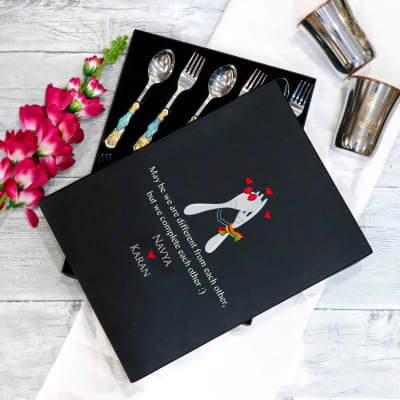 Set of 12 Designer Cutlery Set for Couples in Personalized Box