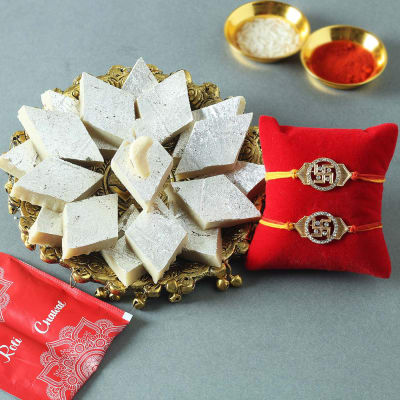 Set of 2 Auspicious Swastik Rakhi with Kaju Katli (250 Gms)