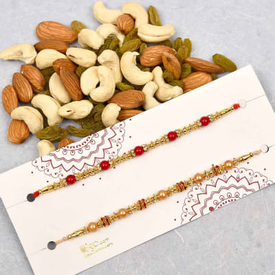 Set of 2 Beads Rakhi with Assorted Dry Fruits