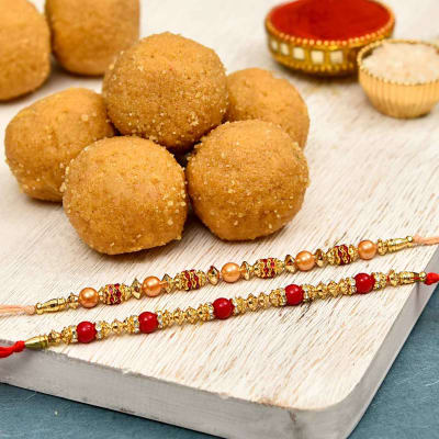 Set of 2 Beads Rakhi with Besan Ladoo