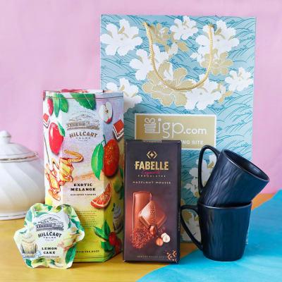Set of 2 Black Ceramic Mugs & Gourmet Goodies in Gift Bag