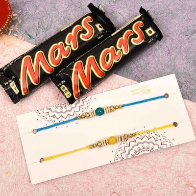 Set of 2 Colorful Pearl Rakhi with Mars Chocolates (2 Pcs)