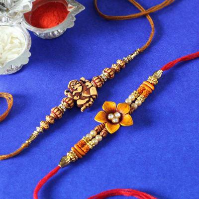 Set of 2 Ganesha & Floral Designer Rakhi