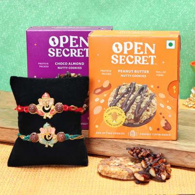 Set of 2 Ganesha Rakhi with Cookies
