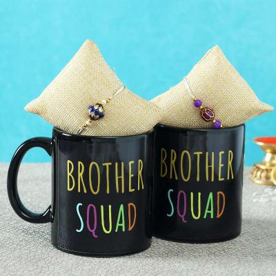 Set of 2 Kundan Jadau Rakhi with Personalized Black Mugs
