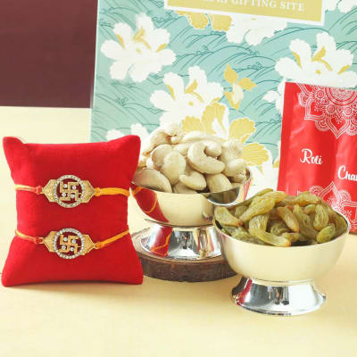 Set of 2 Metal Rakhi with Dry Fruits